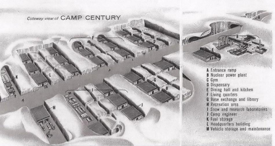 Neben konventionellen Radar- und Luftwaffenbasen baute das US-Militär auch Camp Century, eine unter der Eiskappe gelegene Abschussbasis für Atomraketen und mit einem kleinen Kernreaktor zur Energieversorgung. Der Abbau dieser Station wird separat verhandelt.