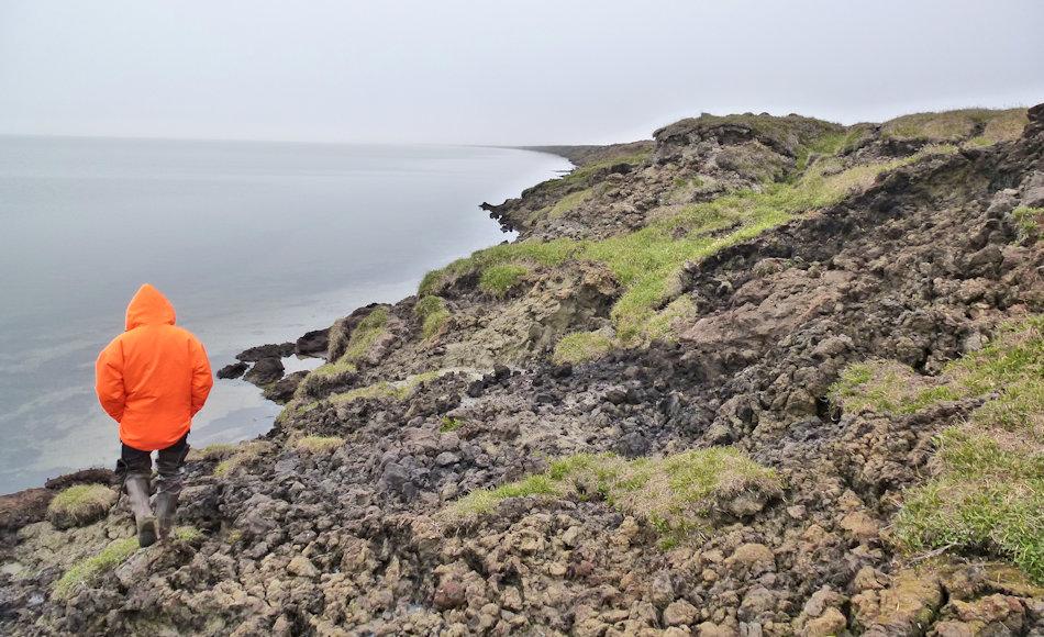 Durch das Auftauen des Bodens wird dieser an den Ufern von Seen und an den Küsten wegerodiert. Dadurch verringert sich nicht nur die Landmasse, sondern es werden auch noch mehr Treibhausgase freigesetzt und die Wasserkörper mit chemisch und physikalisch stark verändert. Bild: Ingmar Nitze