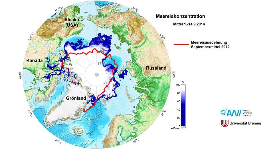 Diese Karte zeigt die arktische Meereiskonzentration, gemittelt aus den Tageswerten der ersten Septemberhälfte des Jahres 2014 (1.-14. September 2014). Die rote Linie markiert die Fläche des Meereisminimums aus dem Jahr 2012. Damals schrumpfte die Meereisdecke der Arktis auf einen Negativrekordwert von 3,4 Millionen Quadratmeter. Karte: Alfred-Wegener-Institut/Universität Bremen