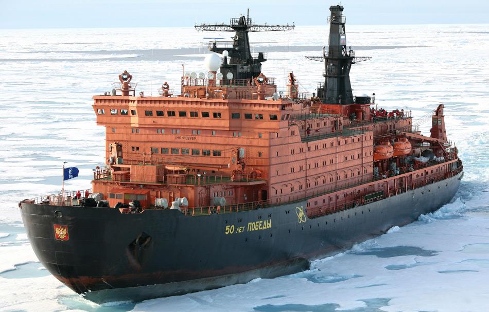 Russland besitzt die grösste Eisbrecherflotte der Welt und auch das stärkste Schiff, die 50 Years of Victory. Es ist auch das Land mit der längsten arktischen Küstenlinie, die während des Winters eisfrei bleiben muss. Bild: Heiner Kubny