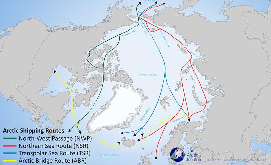 Den Arktischen Ozean zu durchfahren kann man nicht nur auf der klassischen Nordmeerroute entlang der russischen Küste, sondern auch über den Nordpol und die Nordwestpassage. Doch trotz Klimawandel sind diese Routen immer noch kosten- und zeitintensiv. Bild: The Arctic Institute